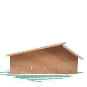 בניית מתלה למפתחות מעץ בצורת בית