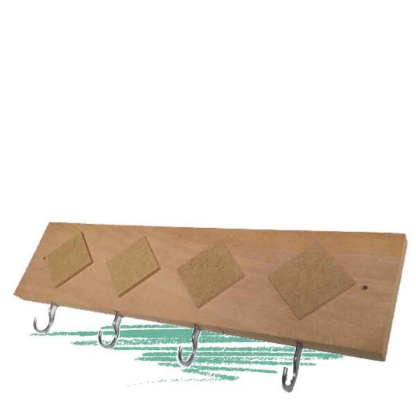 מתלה להרכבה עצמית מעץ עם 4 ווים